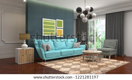 Interior of the living room. 3D illustration #1221281197
