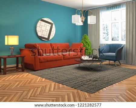 Interior of the living room. 3D illustration #1221282577
