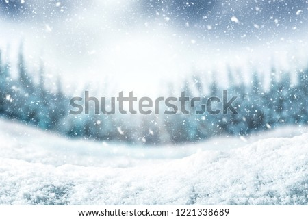 Snow background and tree. Winter backdrop with sunlight in morning time. #1221338689