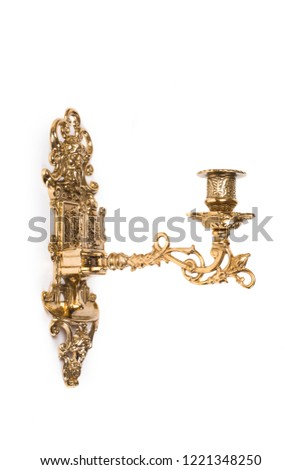 Gold wall candle holder on a white background #1221348250