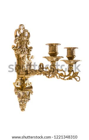 Gold wall candle holder on a white background #1221348310