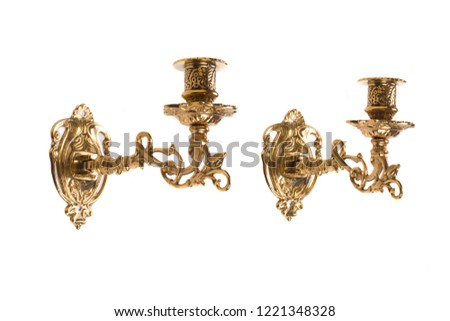Gold wall candle holder on a white background #1221348328