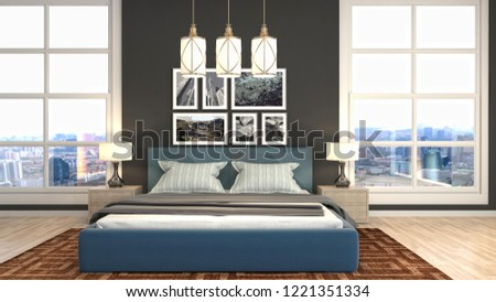 Bedroom interior. 3d illustration #1221351334
