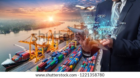 World map with logistic network distribution on background. Logistic and transport concept in front Industrial Container Cargo freight ship for Concept of fast or instant shipping, Online goods orders #1221358780