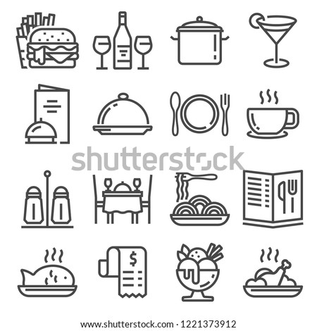 Restaurant icons set on white background. Vector illustration Royalty-Free Stock Photo #1221373912