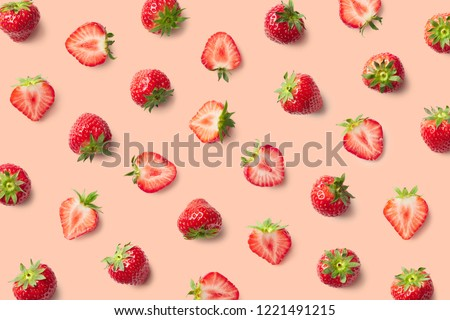 Colorful pattern of strawberries on pink background. Top view #1221491215