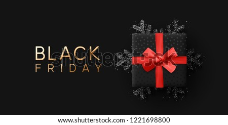 Black Friday Sale. Banner, poster, logo golden color on dark background. Royalty-Free Stock Photo #1221698800
