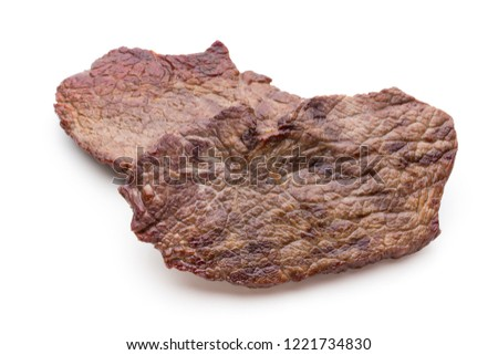 Grilled bio beef steaks with spices isolated on white background. #1221734830