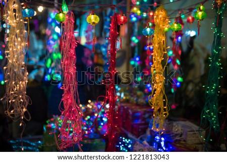 Mumbai / India 05 November 2018 Diwali Decorative Multicolour Rice String Light at Goregaon market in Mumbai  Maharashtra India #1221813043