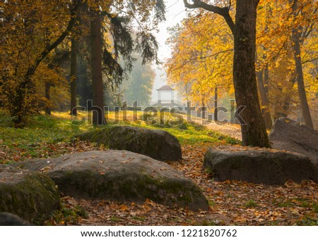Beautiful autumn landscape with stones and trees #1221820762