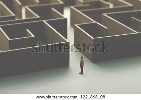man entering in a wooden complex maze #1221868108