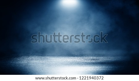 Background of empty dark room, street. Concrete floor, asphalt, neon light, smoke, spotlight #1221940372
