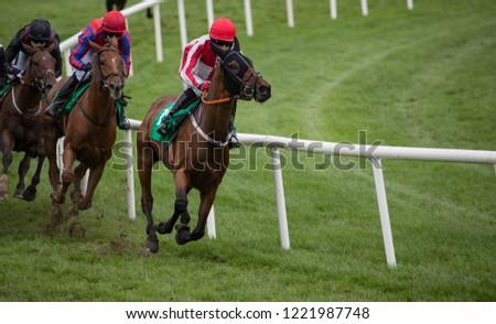 Race horses and jockeys taking a turn on the race track #1221987748