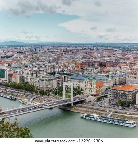 Budapest bridge skyline panorama #1222012306