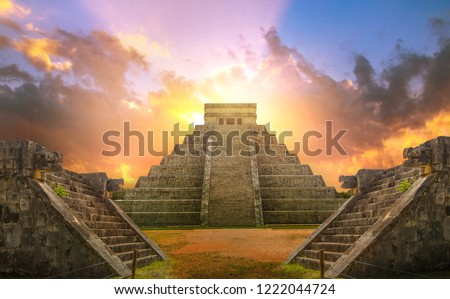 Mexico, Chichen Itza, Yucatn. Mayan pyramid of Kukulcan El Castillo at sunset #1222044724