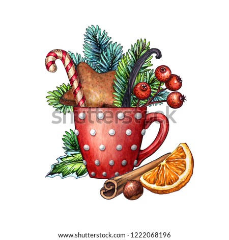 christmas greeting card design, red mug, polka dot, gingerbread cookie, candy cane, berries, conifer twigs, cinnamon, orange, treat, forest bouquet, watercolor clip art isolated on white background