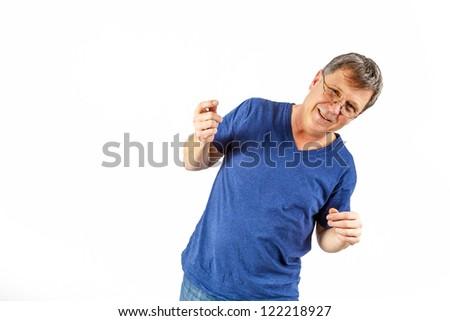 attractive man gesturing in studio #122218927