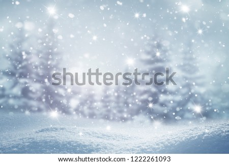 Winter  background .Merry Christmas and happy New Year greeting card with copy-space. Christmas landscape with snow and fir trees #1222261093