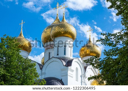 Russia, Yaroslavi, the Assumption Cathedral domes #1222306495