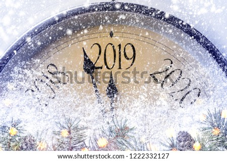 Countdown to midnight. Retro style clock counting last moments before Christmass or New Year 2019. #1222332127