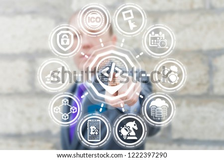 API code pin map place marker button on a virtual screen. Coding and Programming Digital Computing Business Finance Technology.