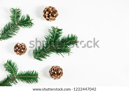 Festive composition of Christmas decorations on white background. Flat lay with copy space. New year holiday frame. #1222447042