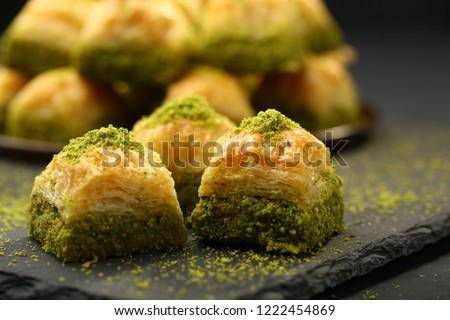 walnut, pistachio turkish style antep baklava presentation and service #1222454869