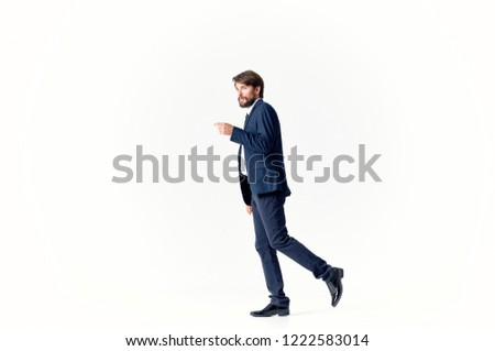 man in classic suit side view light background                       #1222583014