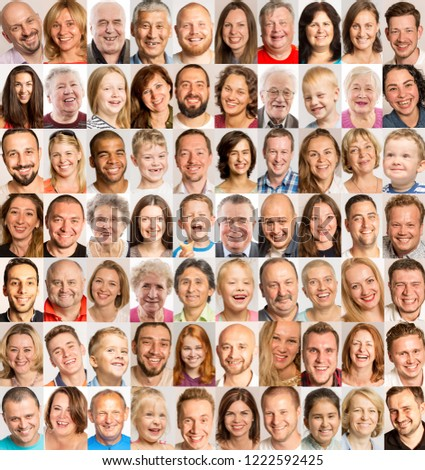 A group of images of laughing people of different gender and age
