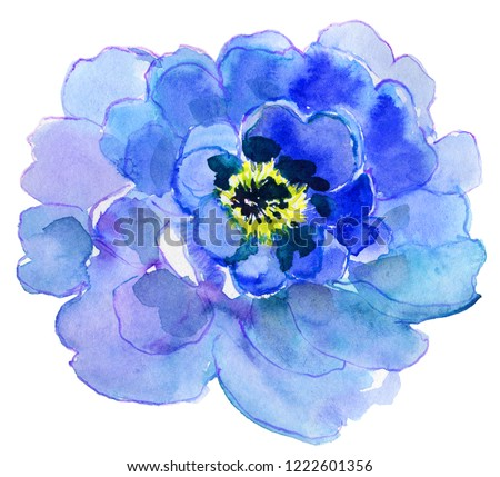 Watercolor flower. Big blue peony. Aquarelle wild flower for background, texture, wrapper pattern, frame or border. #1222601356