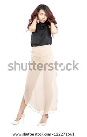 attractive asian woman standing on white background #122271661