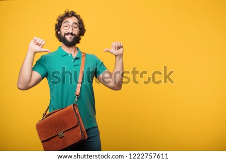 young freelancer man expresing a concept against orange isolated background #1222757611