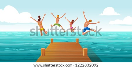 Group of people jumping from wooden pier into the water. Family having fun jumping in the sea water.  #1222832092