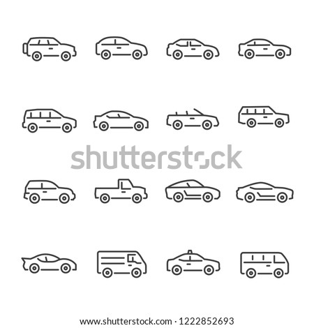 Car vector line icon set Royalty-Free Stock Photo #1222852693
