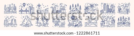 Collection of picturesque landscape icons or symbols drawn with contour lines on light background. Bundle of beautiful linear natural sceneries. Monochrome vector illustration in lineart style. Royalty-Free Stock Photo #1222861711