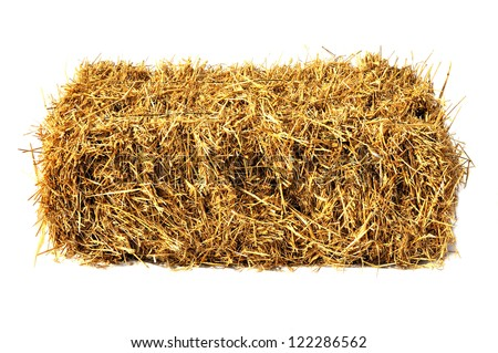 Hay bale isolated on white #122286562