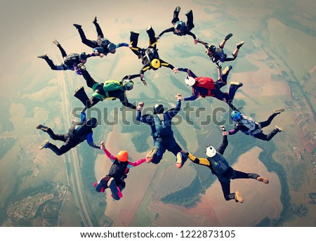 Skydivers team work photo effect #1222873105