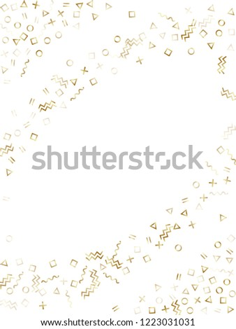 Memphis style gold geometric confetti vector background with triangle, circle, square shapes, zigzag and wavy line ribbons. Glossy 80s style bauhaus gold decor confetti falling on white. #1223031031