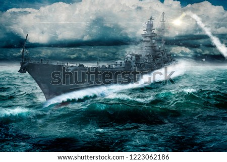 warship goes through the rough atlantic - This image is an illustration #1223062186