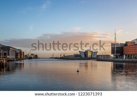 Titanic Belfast in the morning Royalty-Free Stock Photo #1223071393