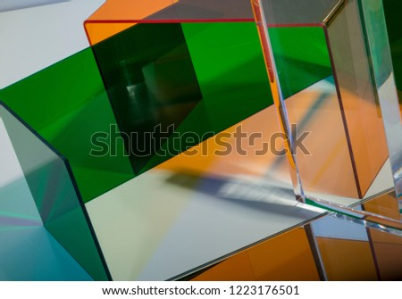 Acrylic colors and abstract shapes for backgrounds and art