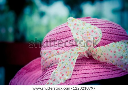 Girl's Pink Straw Sun Hat with Ribbon #1223210797