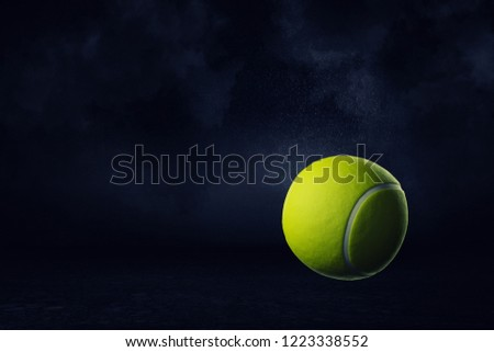 3d rendering of a yellow tennis ball on a dark background. Tennis competition. Sport gear. Athletic hobby. #1223338552