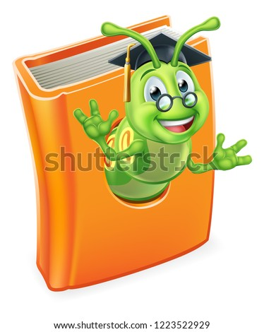 A cute teacher bookworm caterpillar worm cartoon character education mascot wearing graduation hat and glasses coming out of a book