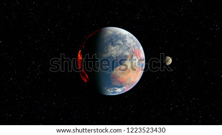 3D CG rendering of Space planet. Elements of this Image Furnished By NASA. #1223523430