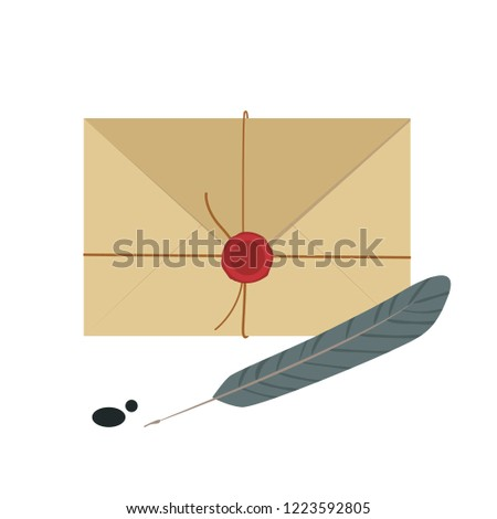 Vector envelope. kraft envelope isolated on a background.  #1223592805