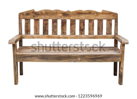 old long wooden chair isolated on white with clipping path #1223596969