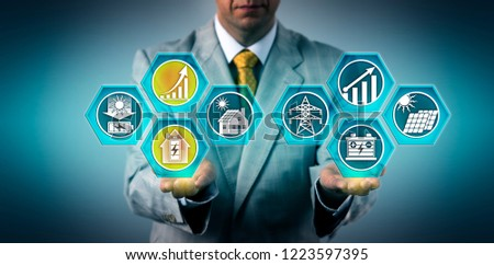 Businessman predicting residential energy storage system growth outdoing the development rate of commercial and utility-scale installations. Energy industry concept for ESS, home electricity storage. #1223597395