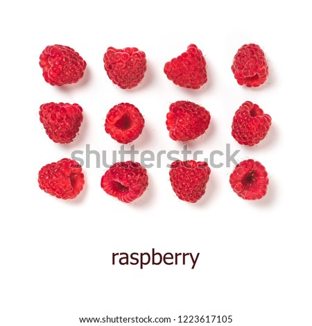 View from above of ripe red raspberry on white background.Organic raspberries creative layout pattern, isolated on white with clipping path.Top view or flat lay.Copy space for text.Vegan food concept #1223617105