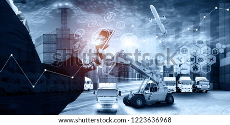 Abstract image of business man point to the hologram on smartphone and Industrial Container Cargo freight ship, for logistic import export and transport industry concept background, #1223636968